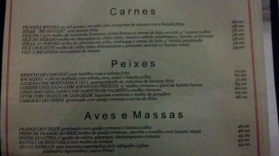 Guimas: parte do menu