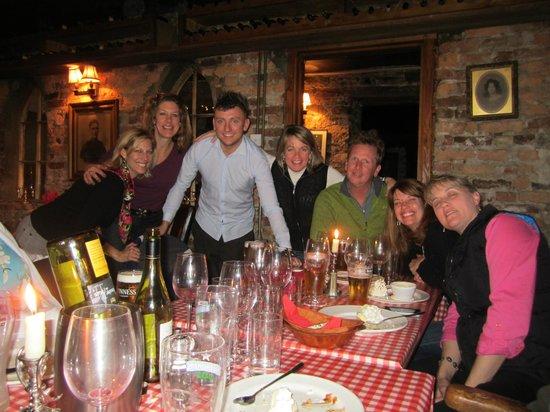 Finnegan's Wine Cellar Restaurant: Virginia friends with our wonderful waiter at Finnegan's!