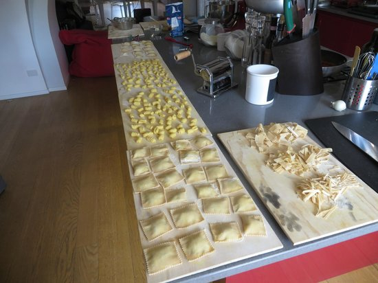 Fabiolous Cooking Day in Rome : Lots of pastas made by our group from scratch.