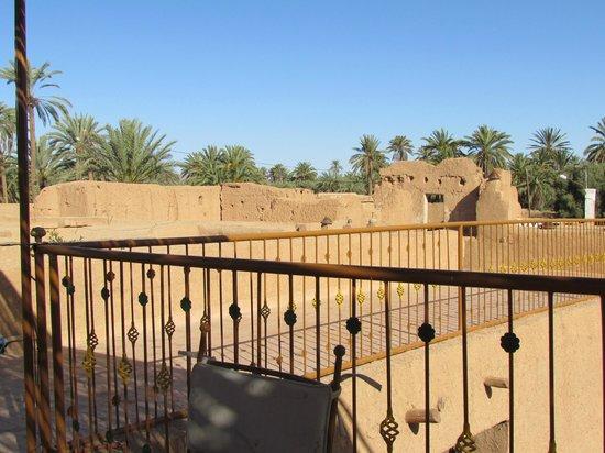 Nomades - Maison d'Hotes : terrasse et vue sur l'oasis