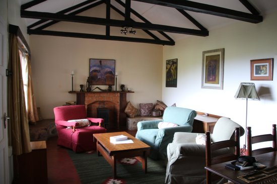 Gibb's Farm: living area of our cottage