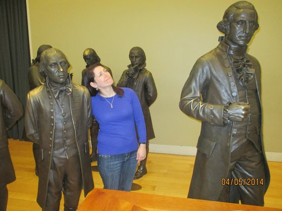 "National Constitution Center : Delegate Statues: Madison-- the shortest at 5'4"" & Washington--the tallest at 6'4"".  I am 5'2"""