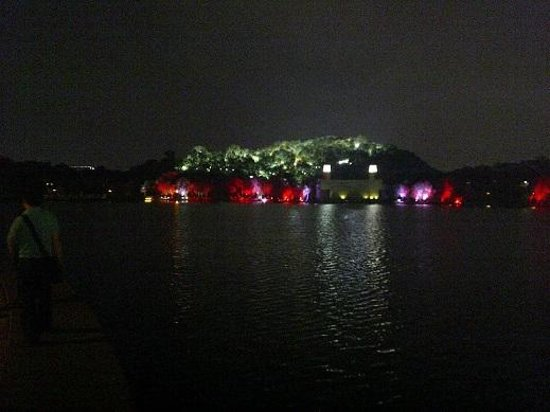 Qiandeng Lake: Hill Lit Up