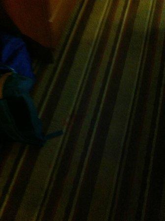 Super 8 San Bernardino/Hospitality Lane: red stains?? on floor in room