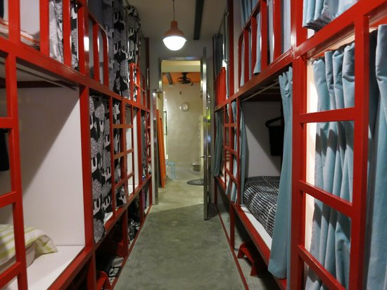 Banana Hostel : Large mixed dorm room with cubby style bunks