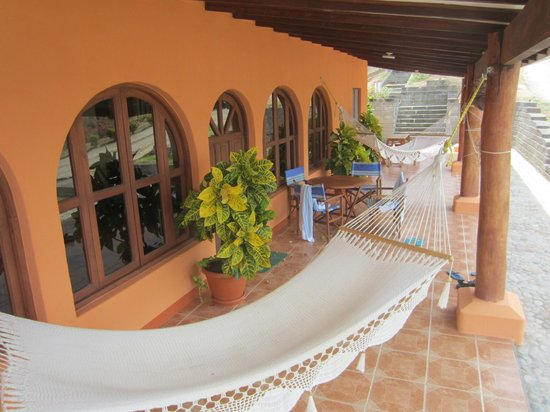 Villas Playa Maderas: Front patio area of Villa #2, views to the pool and ocean beyond