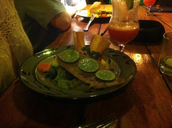 KOKi Beach Restaurant & Bar : Sea Bass lightly with mashed potatoes and vegetables