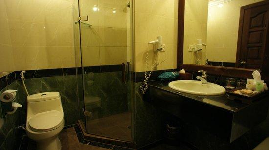 Prince D'Angkor Hotel & Spa: シャワーブースのシャワーヘッドは固定式