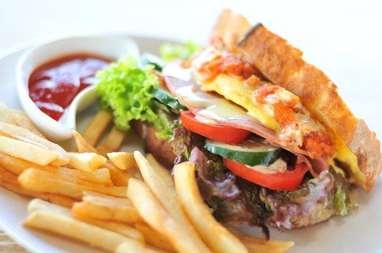 Sawah Bali: Club sandwich with wood fire oven baked bread