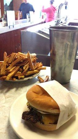 Matt's Place: Regular cheeseburger, plate of fries, & milk shake