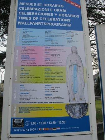Sanctuaire Notre Dame de Lourdes : schedules of the mass in diff language