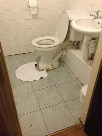 Rhymney House Hotel: Tired bathroom, cracks in floor tiles