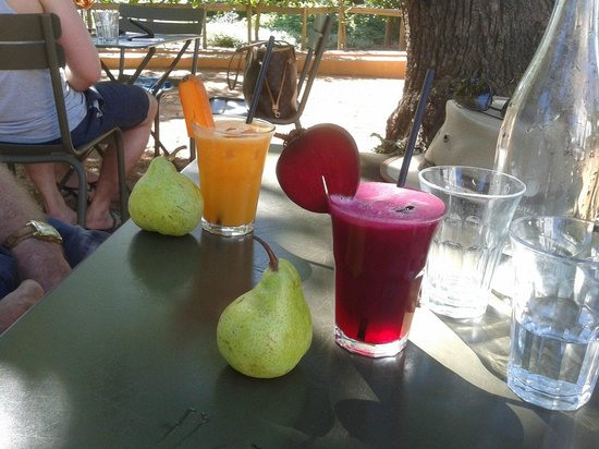 Babylonstoren Garden: Delicious fresh juices - choose your colour and the ingredients are seasonal