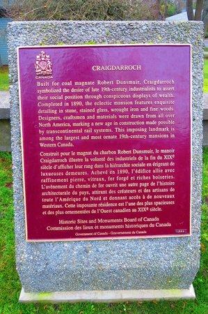 Craigdarroch Castle: Robert Dunmuir's Plaque !