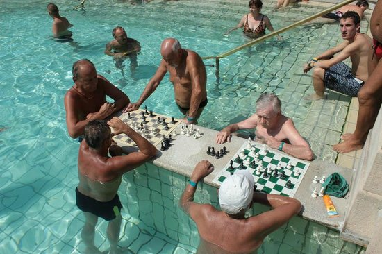Széchenyi Baths and Pool : Chess in thermal swimming pool 38°