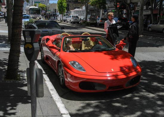 Caffe Delucchi : Some guy getting into his ferrari outside the restaurant