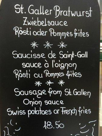 Restaurant Alpegloggli: Bratwurst - St.Galler Spezialität