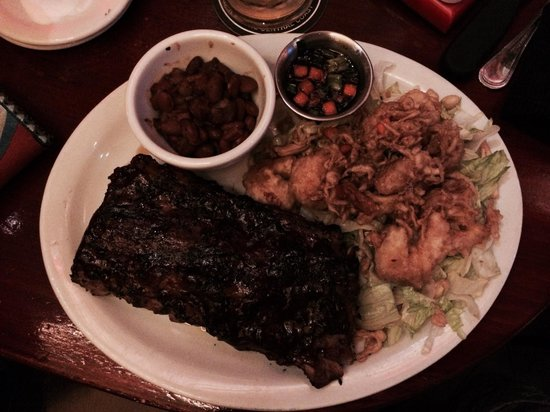 Tahoe Joe's: Babyback ribs with Tempura battered Shrimps (prawns for us Brits). Amazing!