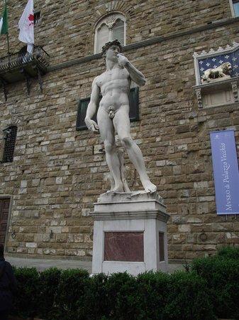 Piazza della Signoria : Estátua di David, cópia do trabalho de Michelangelo.