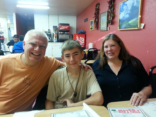 Magoo's Place : Enjoying surprise birthday breakfast with Grandson Patrick