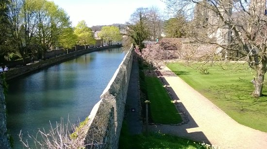 The Bishop's Palace and Gardens: large moat and surrounding wall