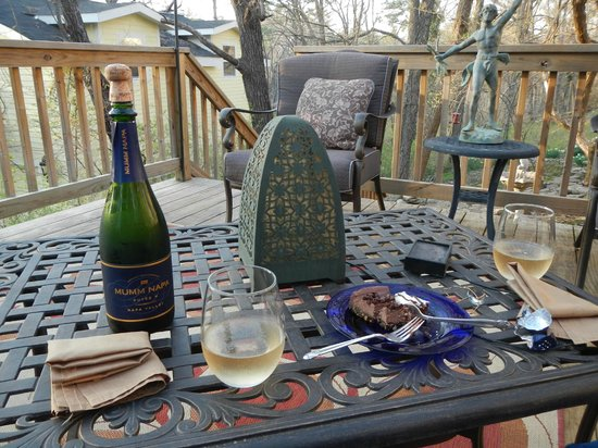 Red Bud Manor: Celebrating on the back porch balcony with Cardinals and Blue Jays