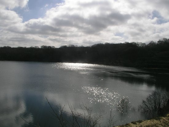 Hatherleigh, UK: The lake at Wooladon in March 2014
