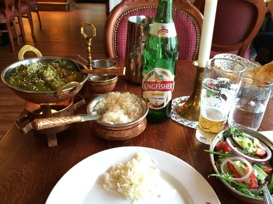 Main Course Palak Murgh W Salad And Kingfisher Beer Picture Of Jaipur Indian Restaurant Oslo Tripadvisor