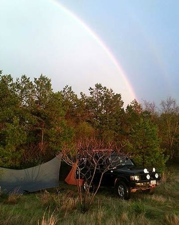 Barnwell Mountain Recreation Area: Rainbow after the storm over my campsite