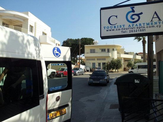 C & A Tourist Apartments: The specially adapted minibus that collected us from the airport