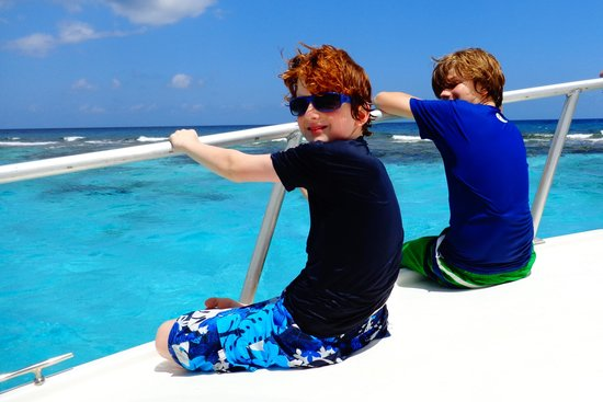 Cayman Eco Adventures: Riding at front of boat