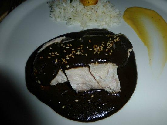 Casa Oaxaca  Restaurant: Asi me presentaron el plato fuio el mole.