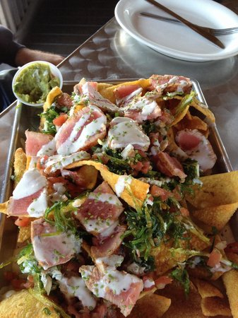 The Salty Pelican Bar & Grill: Appetizer: Ahi Tuna Nachos...nachos are fried wontons...So Good