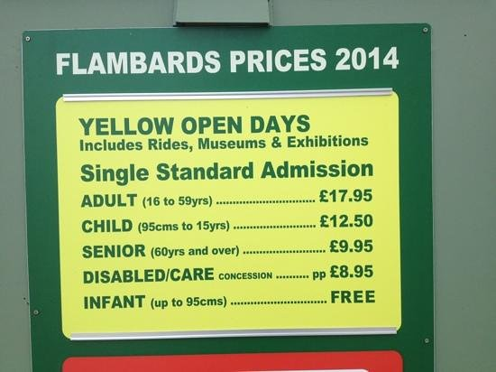 Flambards Theme Park: 2014 yellow days admission prices