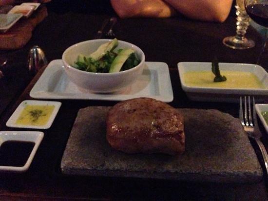 Uchu Peruvian Steakhouse: alpaca steak, salad, mashed potatoes & steak sauce