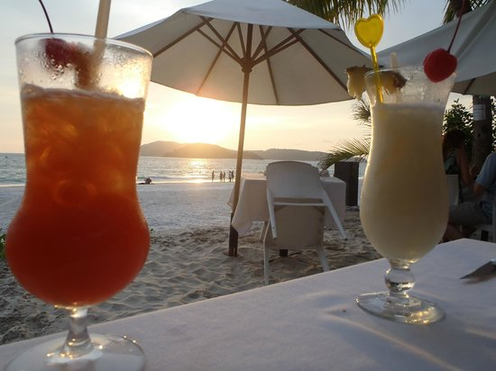 The Brasserie: Cocktails at sunset.