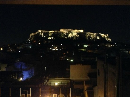 View of the Acrpolis at night from our room - Plaka Hotel Athens