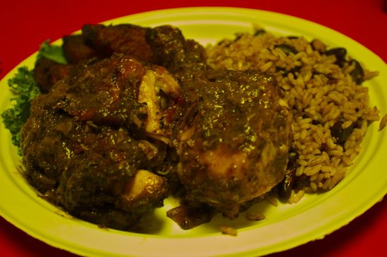 Boogalow's at Kensington Grocery: Jerk Chicken with rice and peas and fried plantains...mmmmmm