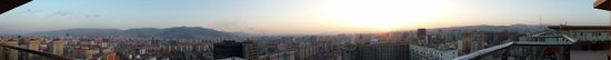 Ramada Ulaanbaatar Citycenter: Panoramic view from the 17th Floor Edge bar roof deck at sunset, from south to north