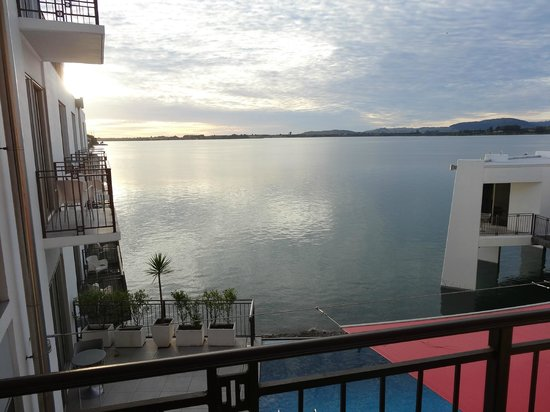 Trinity Wharf Tauranga: View of the pool and harbour form my room.