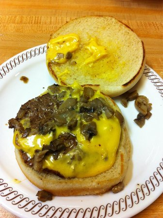 Waffle House: Original Angus Burger with Cheese and Mushrooms