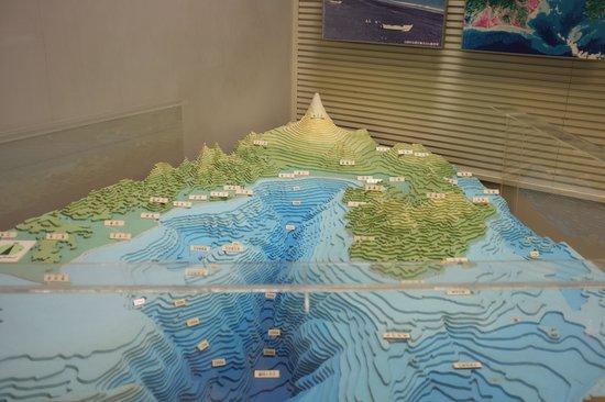 Tokai University Marine Science Museum: Modell över topologin i vattnen och land utanför Mt Fudji