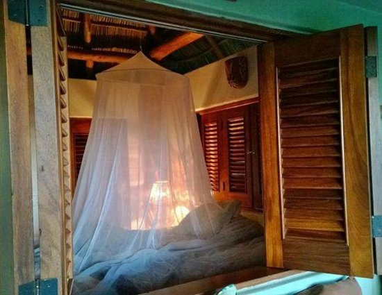 Tailwind Jungle Lodge : Shuttered off bedroom Palap Tigre with mosquito net