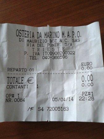 Osteria Da Marino: Lo scontrino da Marino