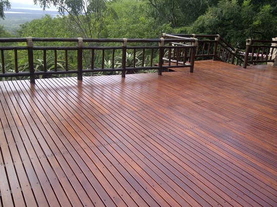 Shayamoya Tiger Fishing & Game Lodge: The brand new central lodge deck, laid April 2014