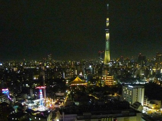Asakusa View Hotel: エグゼクティブ階からの夜景(花やしき、浅草寺、ツリー)