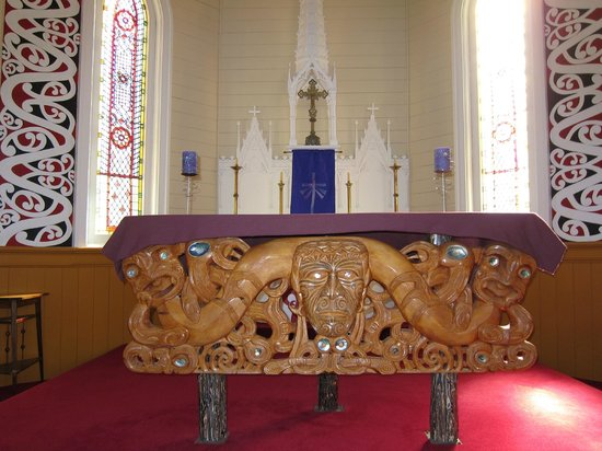 St Joseph's Church: The Maori carved wooden panel