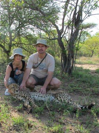 "Tshukudu Bush Camp: Petting the ""girl"""