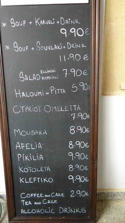 Centrum Hotel: Indicative price list of dishes
