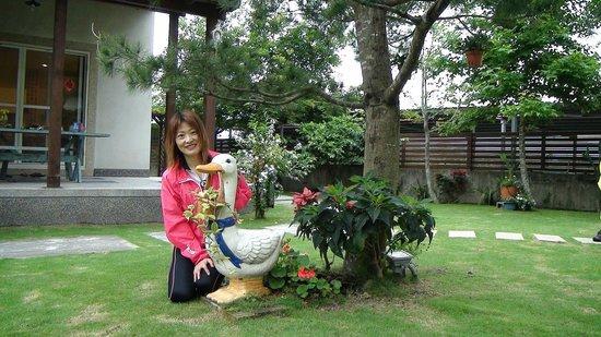 Green Villa: 住房外可愛的白鵝...